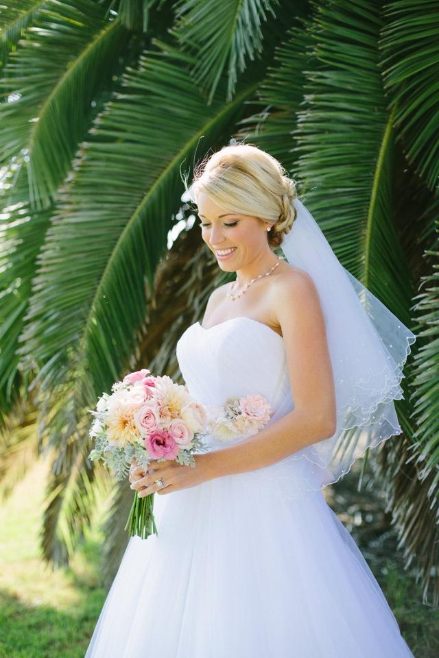 bride wearing davids bridal gown