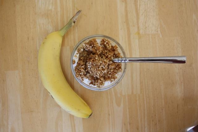 honey greek yogurt with granola and a banana