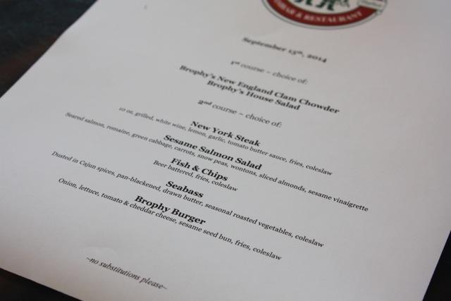 trophy brothers selected menu
