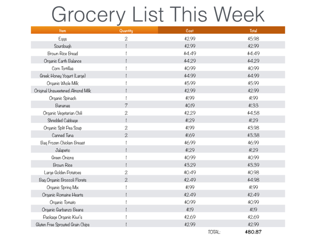 budget grocery list