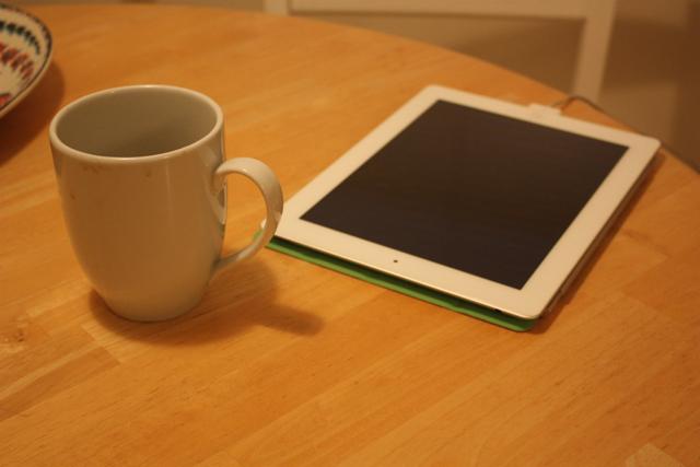ipad and coffee sunday morning