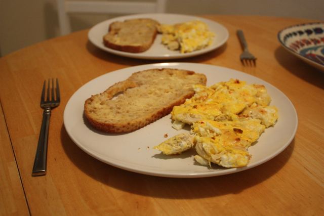 eggs and chicken on toast