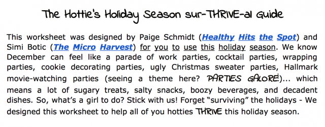 Screen Shot Holiday SurTHRIVEal Guide