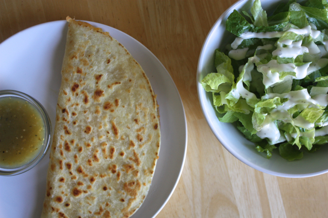 hummus:cheese quesadilla