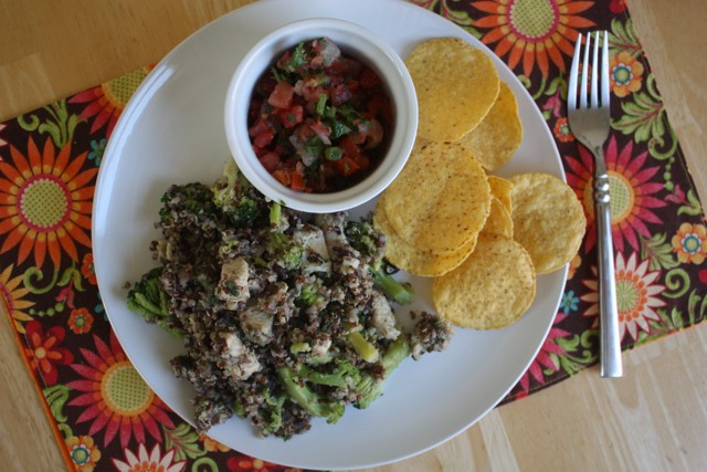 chips and salsa tofu black bean mix