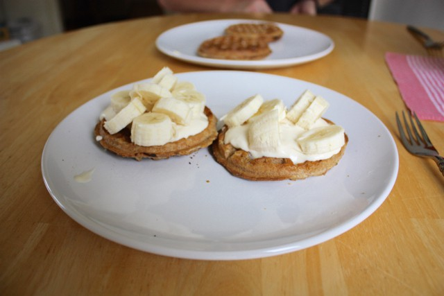 Banana Waffles and Yogurt
