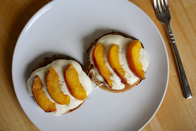 Peaches and Yogurt on Waffles