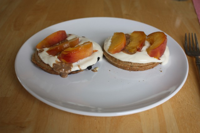 peaches and waffles with yogurt