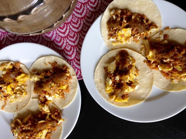 Eggs, corn tortillas, rice