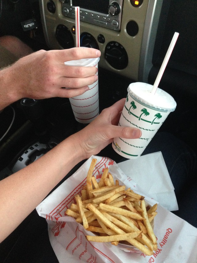 in n out milkshake and fries