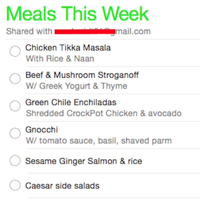 Meal Ideas this Week