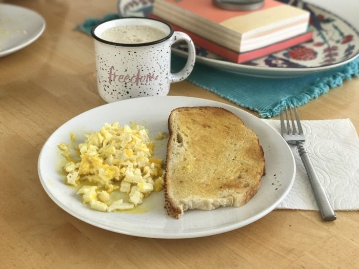Eggs, toast, and coffee