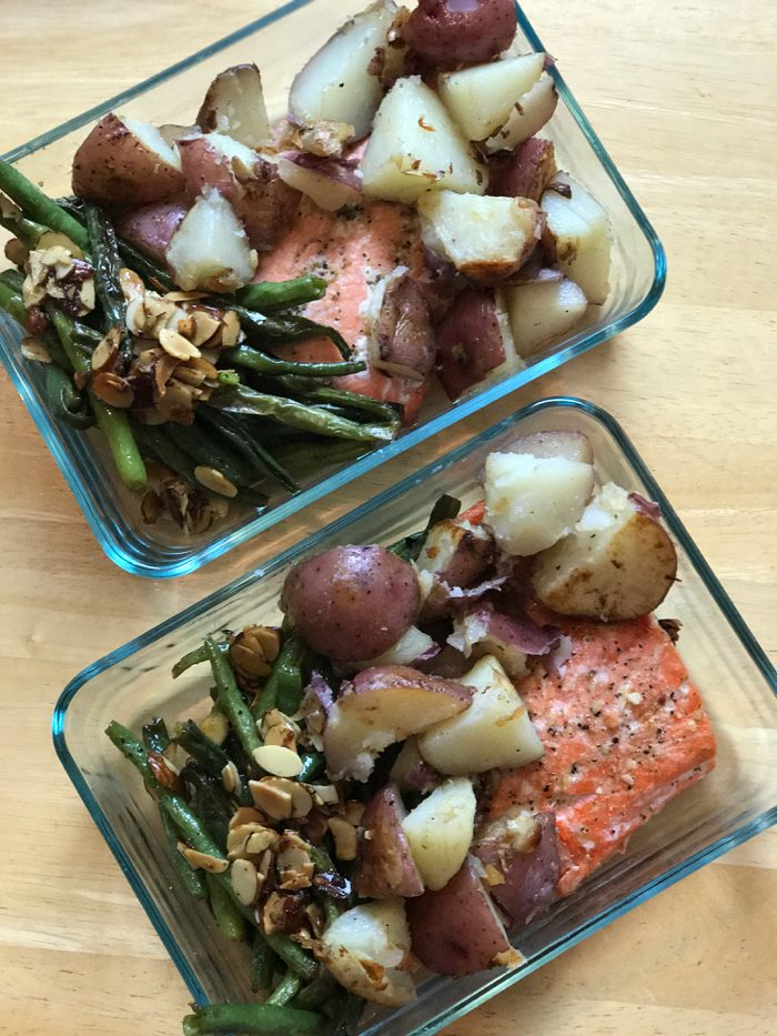 Potatoes, salmon, and green beans