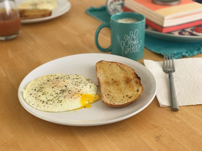 Egg, toast, and coffee