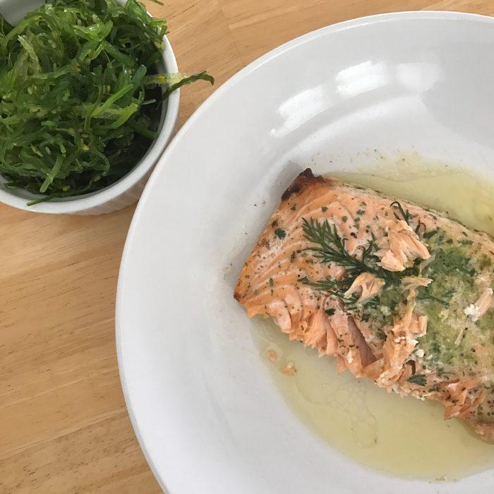 Seaweed salad and salmon