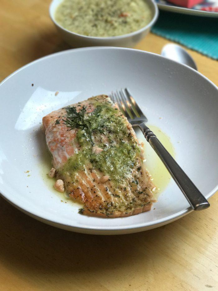 Salmon and broccoli soup