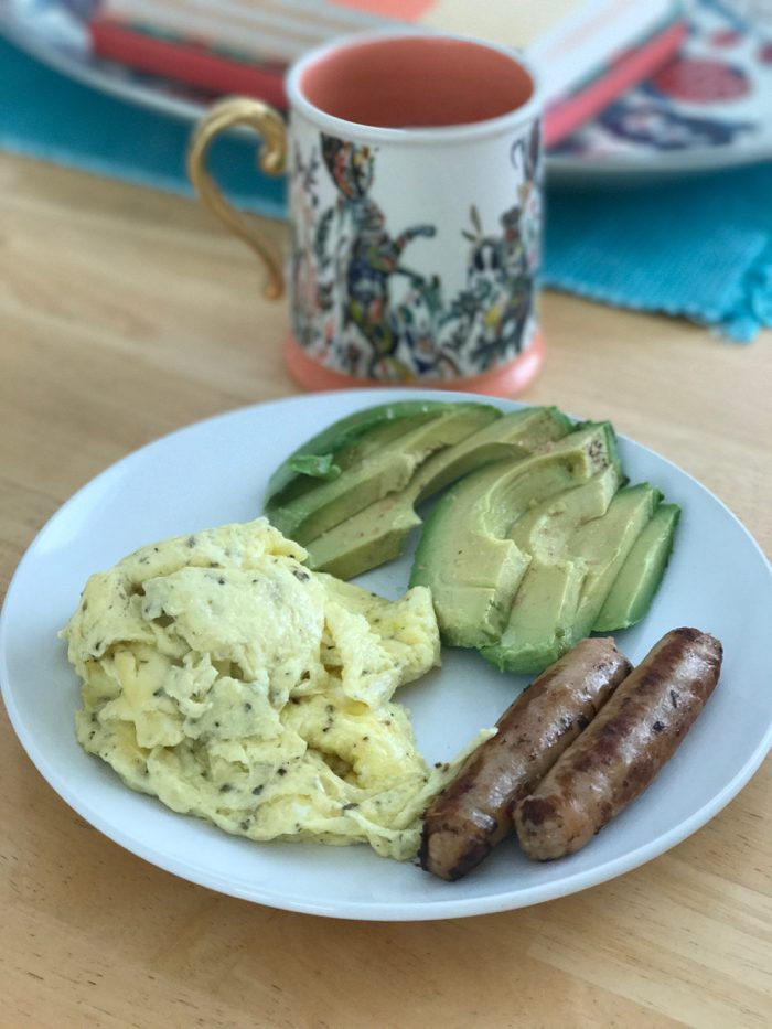 Eggs, chicken sausage, avocado, and coffee